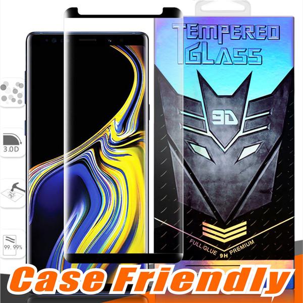 Case friendly vollkleber kleine version gehärtetes glas für samsung galaxy note 10 9 8 s10 s9 8 plus s8 s7 edge 3d curve klar displayschutzfolie
