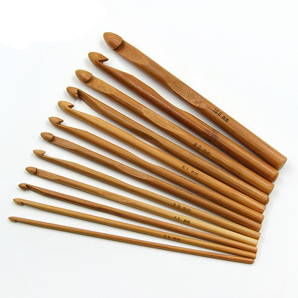 12pcs/set High quality Bamboo Handle Crochet Hook set smooth Weave Craft knitting needles for Sweater sewing accessories