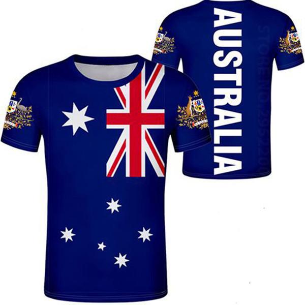 AUSTRALIA camiseta personalizada personalizada nombre número moda negro blanco gris rojo camisetas aus país camiseta nación au ropa bandera superior