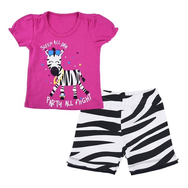 Nuovi arrivi Abbigliamento per bambini 100% Cotone manica corta animali cartoon zebra stampa ragazza s set causale estate ragazza set maglietta + pantalone