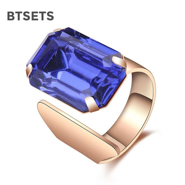 whole saleBTSETS Rings Gold Color Engagement Wedding Rings For Women Luxury Bridal Imitation Crystal Blue Ring Jewelry Big Female Ring