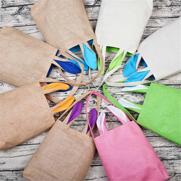 Jute Cotton Easter Bunny Ears Gift Bag Rabbit Bags Reticule Basket for Eggs Holiday Party Candies Gifts Packing Bag Decoration