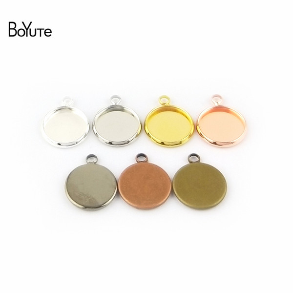 BoYuTe 50Pcs 6 Colors Plated Round 10MM 12MM 14MM 16MM 18MM 20MM 25MM Cameo Cabochon Base Diy Blank Tray Pendant Base