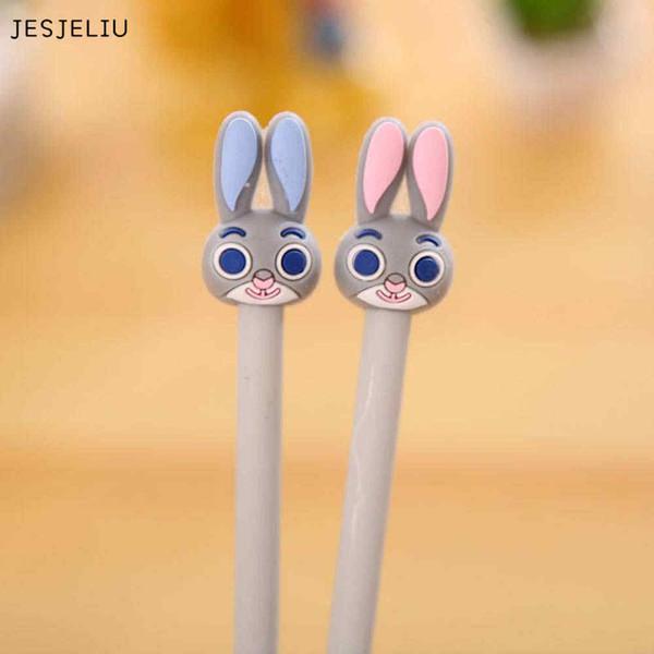 JESJELIU 1 Adet Sevimli Kawaii Karikatür Plastik Jel Kalemler Çocuklar Hediye Için Güzel Tavşan Marker Kalemler Kore Kırtasiye
