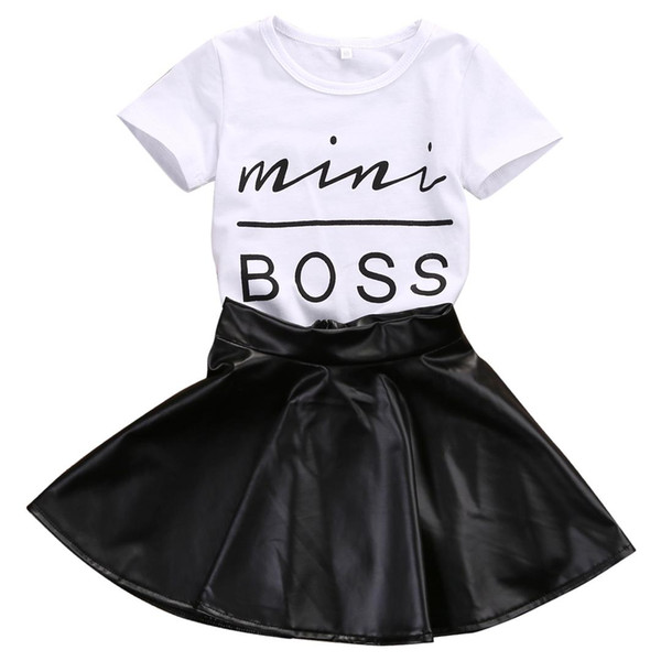 top popular 2018 New Fashion Toddler Kids Girl Clothes Set Summer Short Sleeve Mini Boss T-shirt Tops + Leather Skirt 2PCS Outfit Child Suit 2021