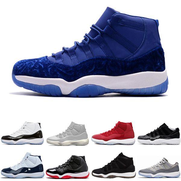 2018 neue Männer Basketball Schuhe Gym Red 11 Universität blau weiß Silber Legeng Blue Metallic Gold Samt Erbess Raum Marmelade 45 gezüchtet Sneaker