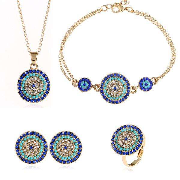 Ulusal stil düğün takı setleri Yuvarlak Türkiye mavi gözler kristal yüzük zincir bilezik elmas Kolye kolye mavi küpe ücretsiz kargo