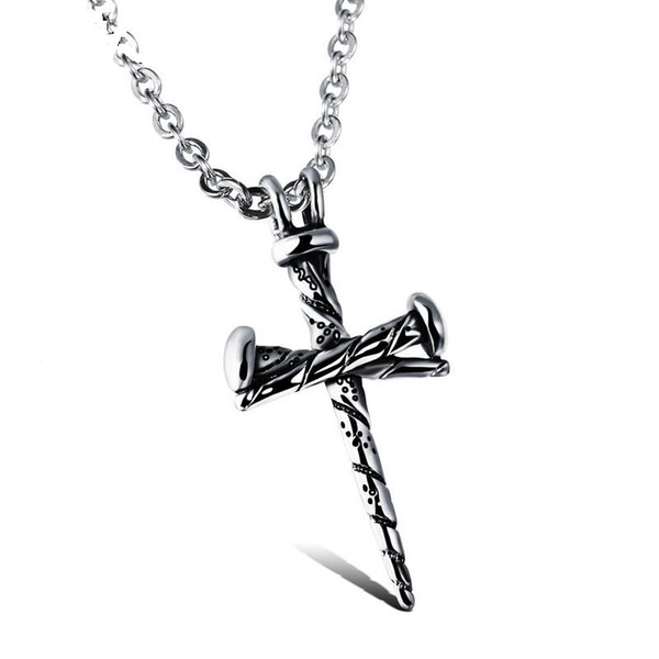 Steel Color Fashion Men's Cross Pendant Necklace Stainless Steel Link Chain Necklace Jewelry Gift for Men Boys 997