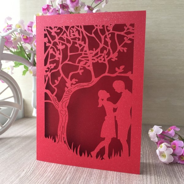 Exquisite Laser Cut Wedding Card Couple Under The Tree Pattern Invitations Card Romantic Wedding Decorations Designer Greeting Cards Digital Cards