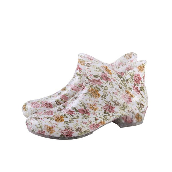 new arrival cute slip on rain boots waterproof flat with shoes woman rain woman water rubber ankle boots buckle botas