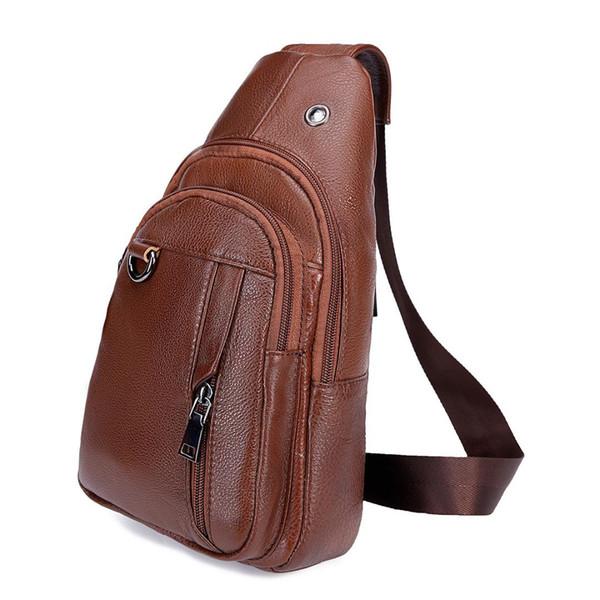 Vintage Bag Men Chest Pack Rucksack Chest Bag Genuine Cow Leather Travel Men Crossbody Bags Single Shoulder Strap Back