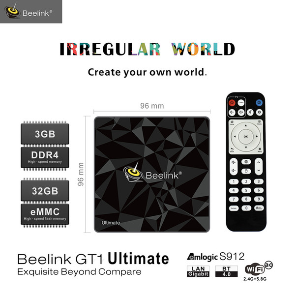 Beelink GT1 Ultimate TV Box Android 7.1 Amlogic S912 Octa Core 5G WiFi Bluetooth 3G 32G Media Player 4K Set Top Box