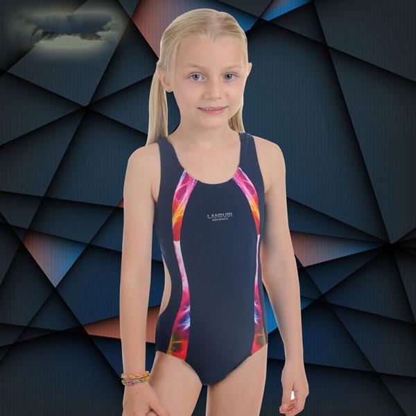 2017New Professional Swimsuit Children & Kid One-Piece Swimming Suit & Sports Racing Swimwear Girl Bodybuilding Bathing Suit