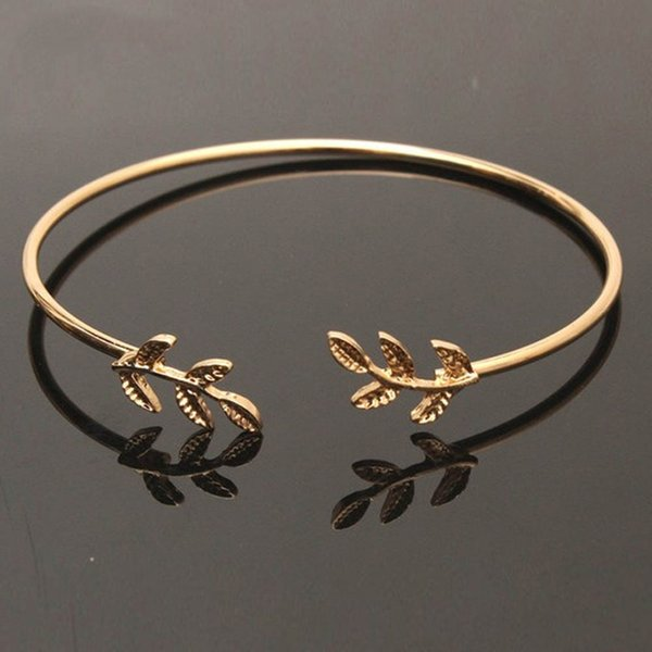Lucky Women Girls Crystal Leaf Charm Bangles Silver Gold Color Open Cuff Bangles Stainless Steel Simple Jewelry Gift