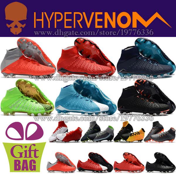 Original Mens High Top Outdoor Soccer Cleats Hypervenom Phantom III FG ACC Football Shoes Cheap Football Cleats Socks Soccer Boots 6.5-12