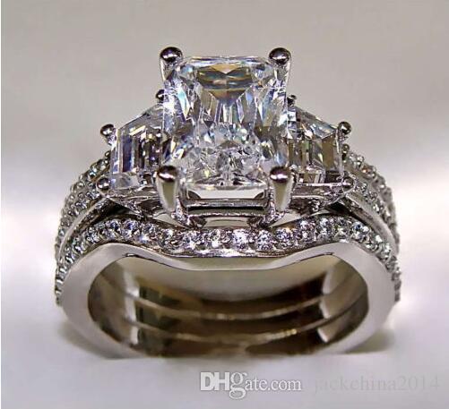 SZ5-11 Free shipping Fashion jewelry princess cut 10kt white gold filled GF white topaz CZ Simulated Diamond Wedding Lady women ring set
