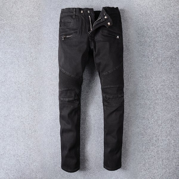 New France Style Mens Distressed Embellished Ribbed Stretch Moto Pants Black Biker Jeans Slim Trousers Size 28-42 #964#