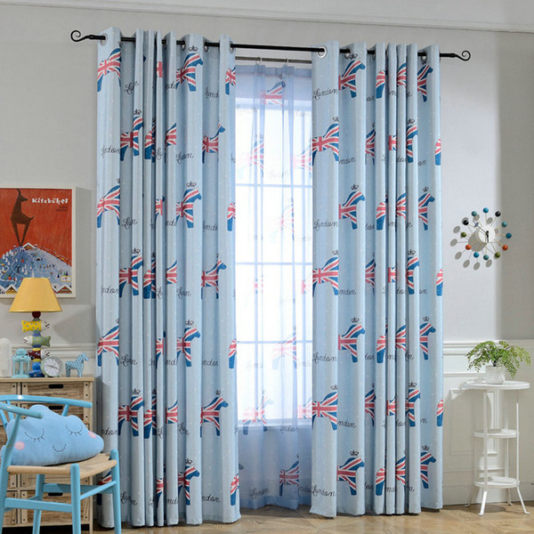 British Style Fur Linen Eco-friendly Curtains for Kids Room Thermal Blackout British Flag Horse Tulle Cartoon Window Curtain Treatment