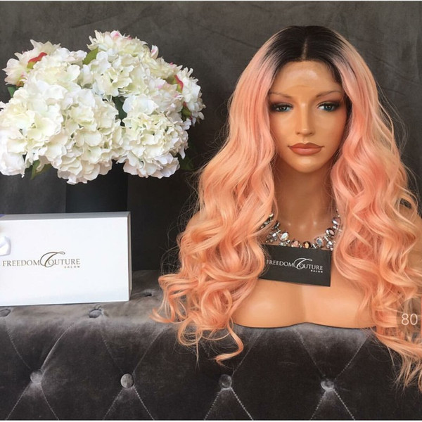 Middle part pink color ombre synthetic lace front wigs peach pink body wave wig for black women heat resistant fiber hair