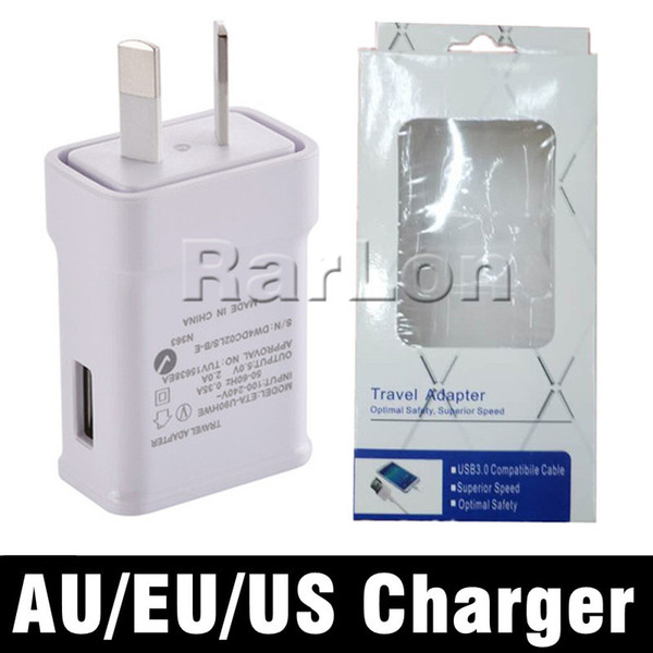 High Quality 5V 2A AU EU US UK Plug USB AC Power Wall Home Charger Fast Charging Travel Adapter Cell Phone Chargers with retail package