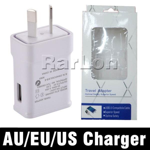 Alta calidad 5V 2A AU UE EE. UU. Reino Unido Enchufe USB Cargador de CA Cargador de pared Cargador rápido Adaptador de viaje Cargadores de teléfono celular con paquete minorista