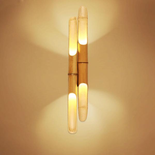 Acheter Applique Murale Design Bambou Créatif Naturel Art Moderne Chambre Simple Combinaison De Chevet Variable Combinaison Hôtel Lampe Personnalisée