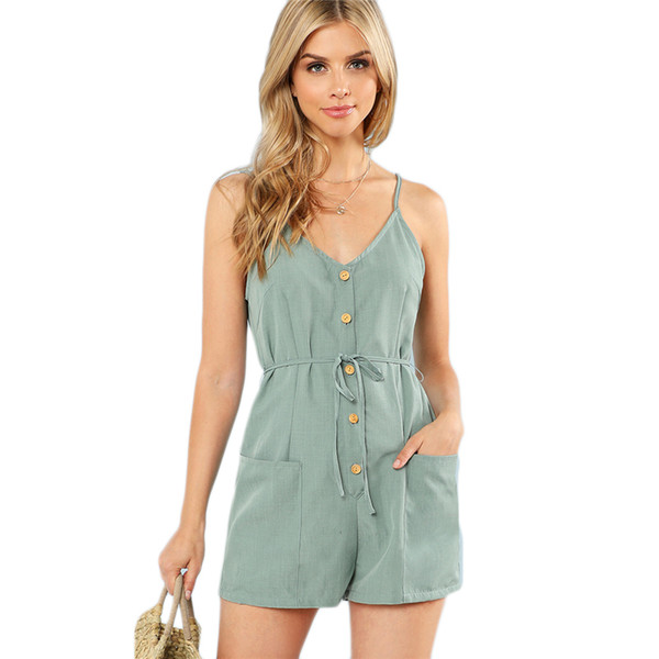fe91fbee375 Green Plain Sexy Spaghetti Strap V Neck Sleeveless Button Pocket Mid Waist  Romper Summer Women Casual