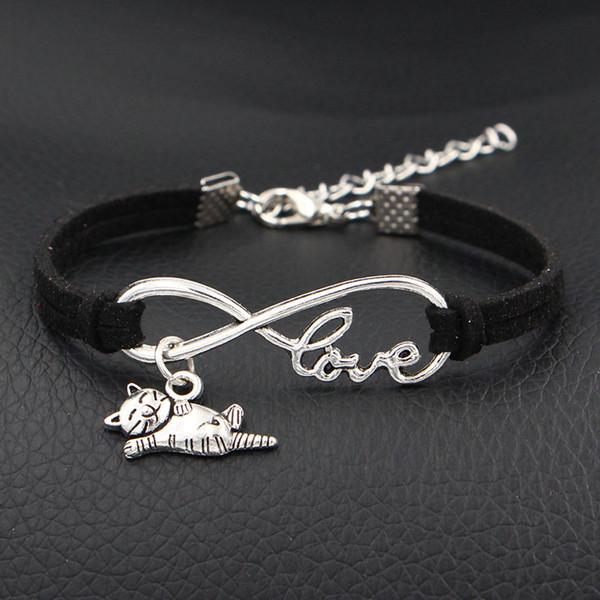 AFSHOR 2018 Nouveau J'aime Mon Chat Heureux Animaux Breloques Bracelet Antique Argent Infinity Amour En Cuir Bracelets Pour Femmes Bijoux De Mode