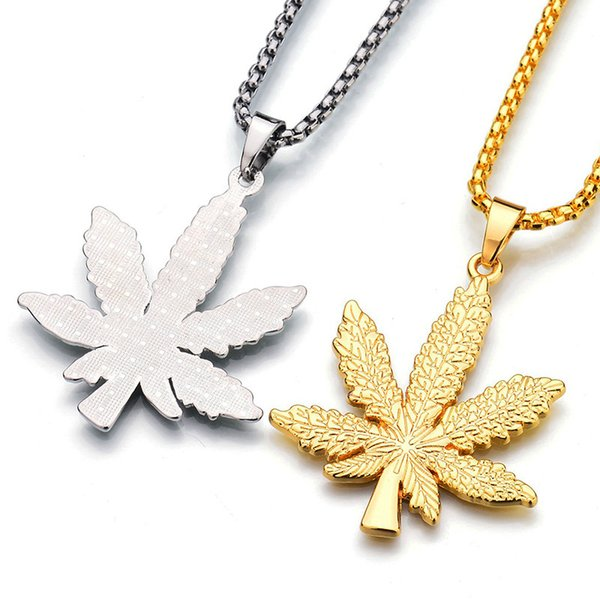 Free DHL 2018 Fashion New Gold Silver Plated Charm Necklace Maple Leaf Pendant Necklace Hip Hop Jewelry Men Women Long Gold Chains H472F