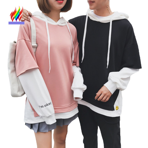 Matching Couple Clothes Lovers Preppy Style Female Male Casual Hooded Sweatshirts Pink Faux Two Piece Cute Japan Couple Hoodies