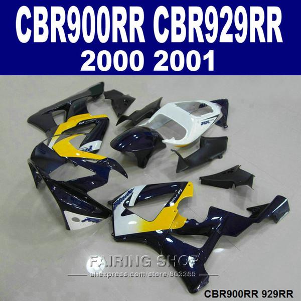7gifts verkleidungen set für Honda CBR900RR CBR929 2000 2001 gelb weiß schwarz verkleidung kit CBR929RR00 01 QA23