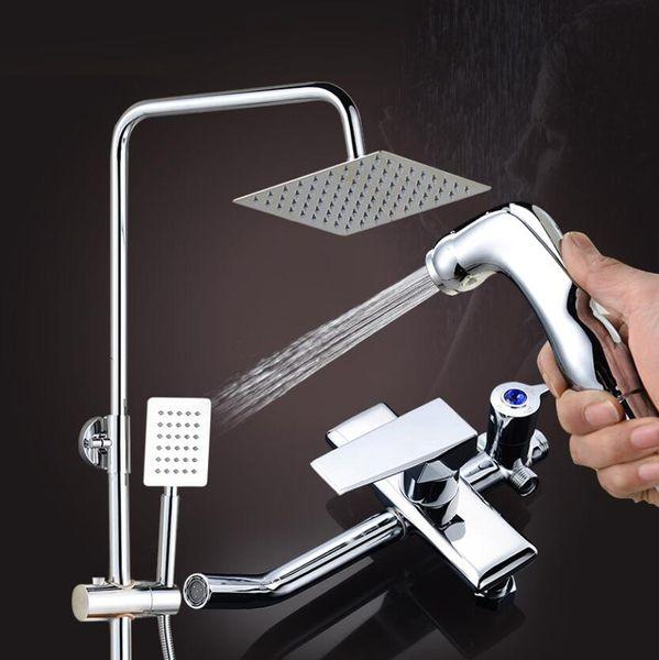 Novo 4 engrenagem pistola de pulverização conjunto de chuveiro de Alta Qualidade completa latão chuva casa de banho suprimentos torneira escondida conjunto de chuveiro