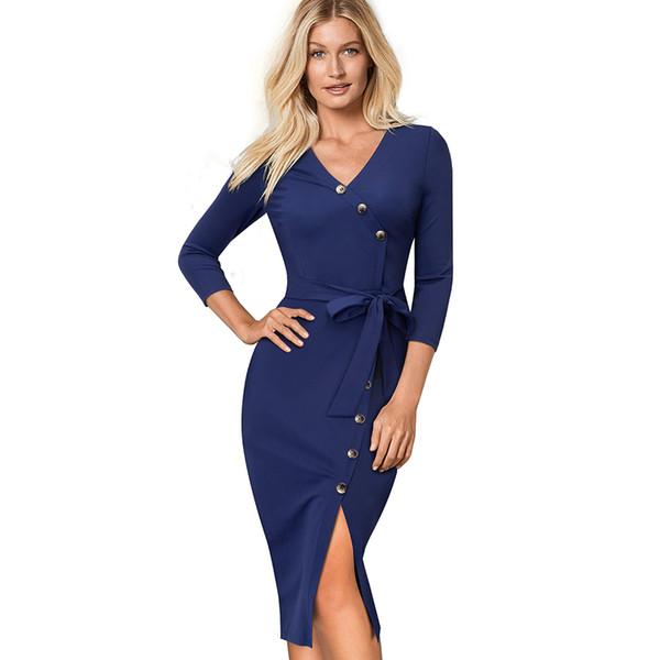 Botones de color sólido femenino Otoño Casual Wear to Work Bodycon Business Vestido con cuello en v Split delgado vestido de oficina lápiz EB464