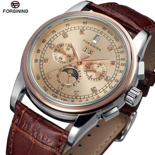 남자에 대 한 자동 일 달 단계 다기능 시계 남성 시계 기계식 시계 Hodinky Relogio Masculino