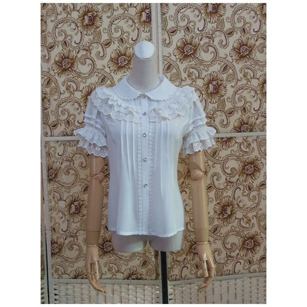 2017 summer new lolita short-sleeved shirt cute col claudine chiffon base shirt white beige pull sleeve girl ing thumbnail