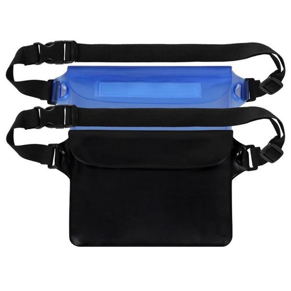 2pcs PVC Waterproof Bag Pouch Sport Running Waist Belt Bag for Phone Camera Wallet Beach Fishing (Deep Blue & Black)
