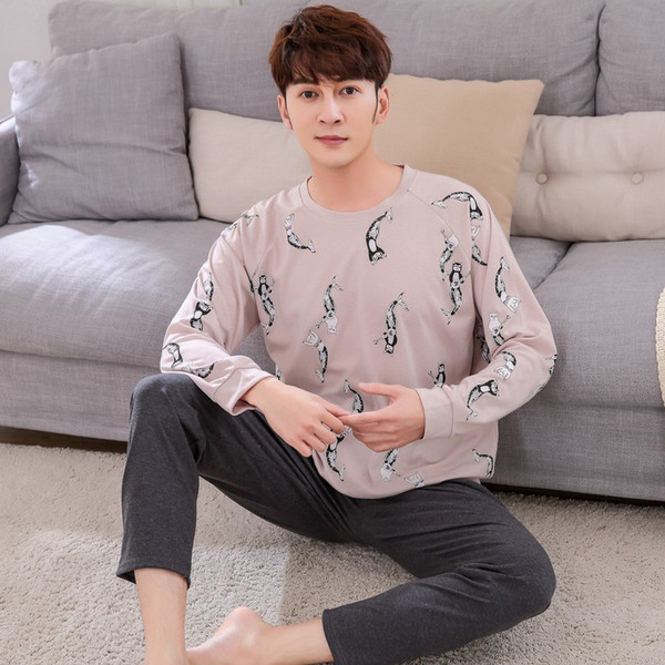 New Listing Spring Autumn Men's Pyjamas Cotton Pajamas Set Print Sleepwear Suit Long-sleeved Nightwear Casual Home Clothes For Women