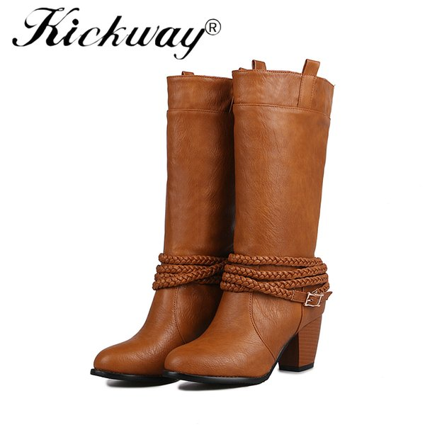 Kickway Women's Winter Shoes Pu Leather Women Winter Boot Brand Women Shoes High Quality Knee High Boots Large Size 34-47