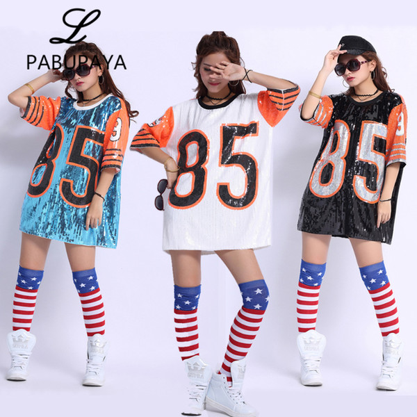 best selling Nightclub DS Show Costumes Long Tee DJ Street Dance Dancers Dress Loose Sequins T shirts Tops Sexy for Womens