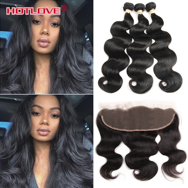 India Body Wave Lace Frontal Closure with 3 Bundle Hair 100% Raw Virgin Indian Human Hair With Frontal Ear to Ear 4Pcs/Lot