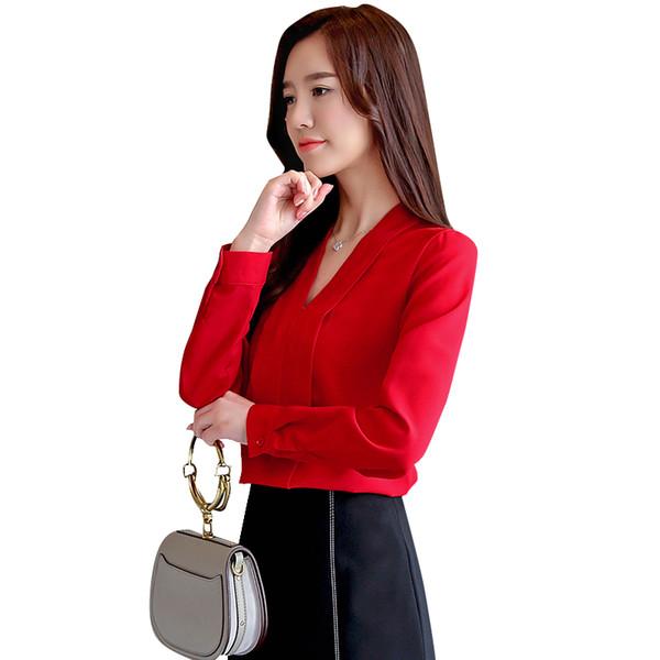 Femmes chemises à col en v chemisier automne dames bureau chemise professionnelle Vêtements de travail blanc rouge OL blouse en mousseline de soie vêtements femme