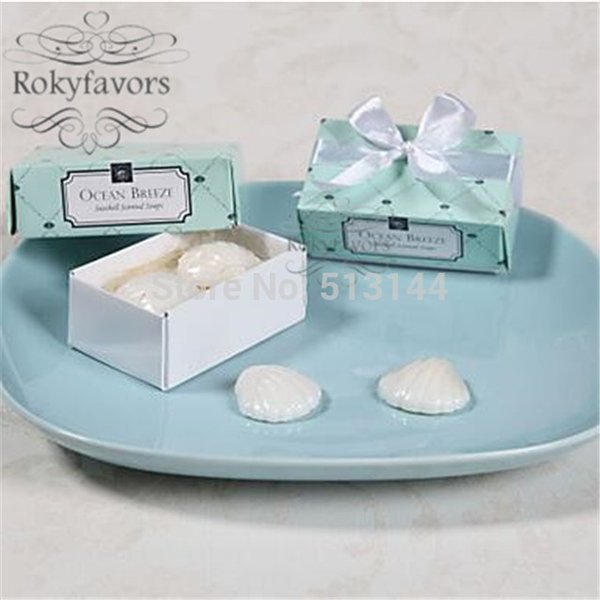 Free Shipping 100Sets Ocean Breeze Seashell Soap Wedding Favors Beach Theme Party Decoration Setting Favors (set of 2)