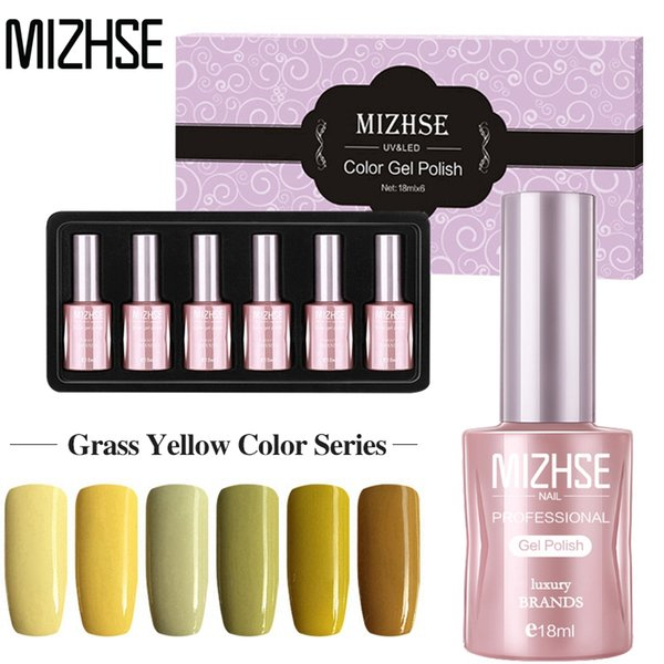 MIZHSE 18ML Yellow Gel Varnishes Set Vernis Semi Permanant UV Nail Gels For Gel Paints Acrylic Nail Kit Nails Accessoires Need