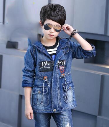 Yeni Sonbahar Erkek Denim Ceketler Moda Kapüşonlu Büyük Erkek Kovboy Ceket çocuk Gündelik Dış Giyim Çocuk Giyim Jean Ceketler
