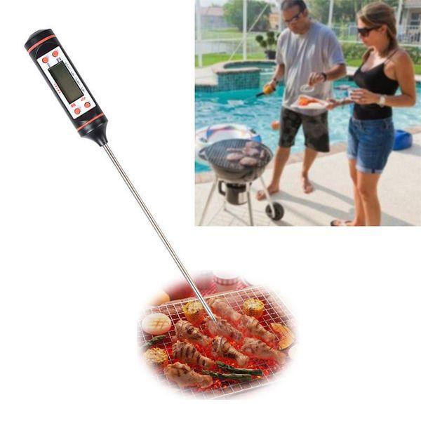 Termómetro de carne Cocina Cocina digital Sonda de alimentos Herramienta de detector de temperatura electrónica de barbacoa doméstica con embalaje al por menor