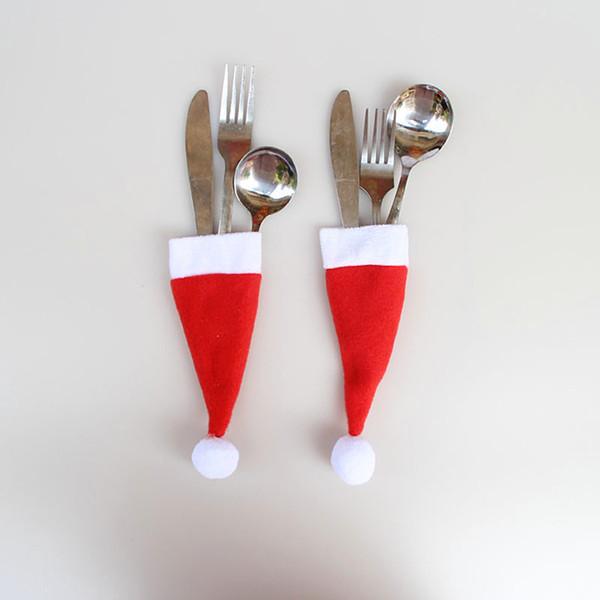 Gros Noël Ornements Vaisselle Décorative Couteau Fourchette Rouge Décoration Chapeau Outil Mini Chapeau De Noël Couteau Ensemble