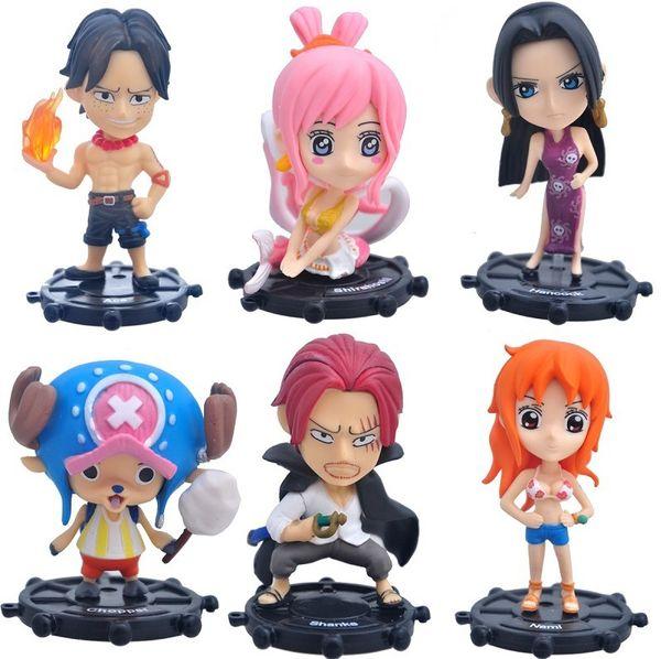 One Piece Ace Nami Shanks Chopper Boa Hancock Shirahoshi PVC Action Figures Collection Model Toys Doll Brinquedos 9cm 6pcs/set