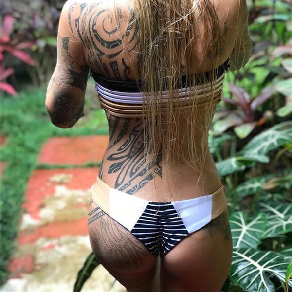 New Sexy Bikinis Women Swimsuit Low Waisted Bathing Suits Swim Off Shoulder Bikini Set Swimwear Hollow Out Top Bandeau