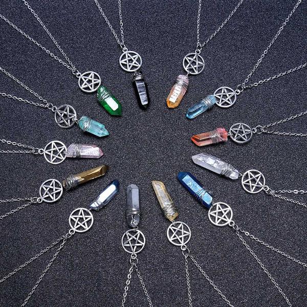 Aura Quartz Wicca Charm Pendant Necklace Rough Stone Raw Stone Crystal with 70cm Chain