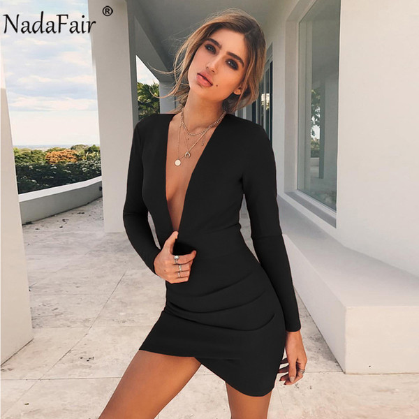 f3e269685b 2018 Nadafair Black Red Autumn Winter Empire Long Sleeve Ruched Bodycon  Dress Sexy V Neck Open Back Mini Club Party Dresses Women D18110604 From ...